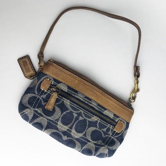 Coach Handbags - Coach Blue Signature Wristlet Leather Strap